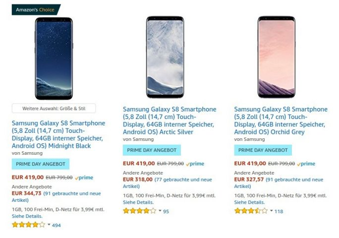 Amazon Prime Day: Galaxy S8 für 419 Euro (Screenshot: ZDNet.de)