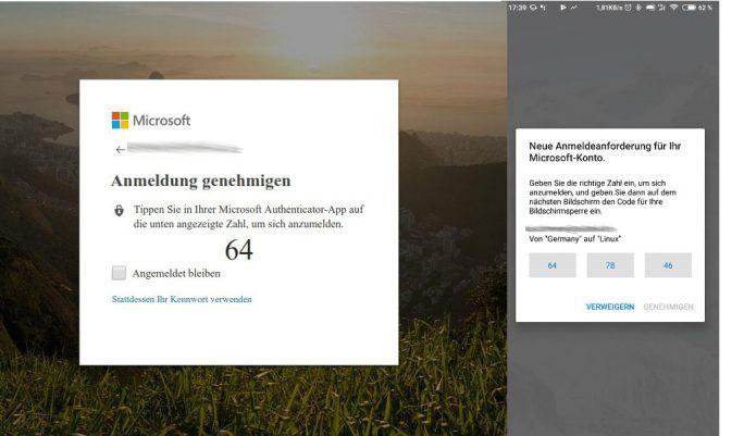 Authenticator App: Bestätigung durch Tippen auf Zahl (Bild: ZDNet.de)