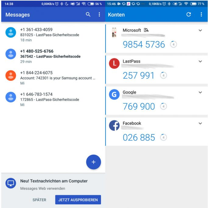 Authenticator-App statt SMS für zweiten Faktor nutzen (Screenshot: ZDNet.de).