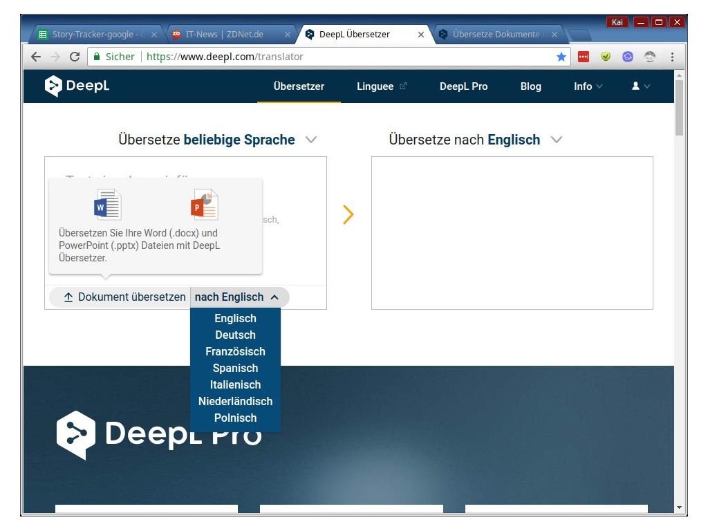 DeepL übersetzt Word- und Powerpoint-Dokumente vollständig