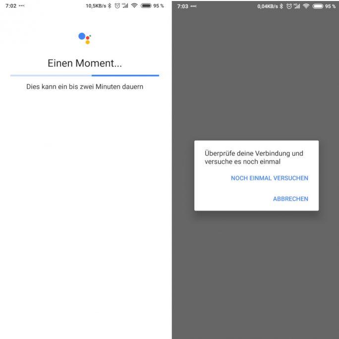Google Assistant: Überprüfe deine Verbindung und versuche es noch einmal (Bild: ZDNet.de)