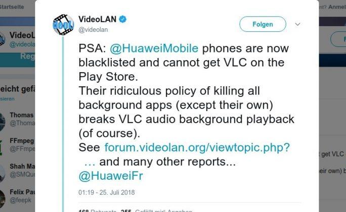 VLC Media Player für bestimmte Huawei-Smartphones gesperrt (Bild: ZDNet.de)