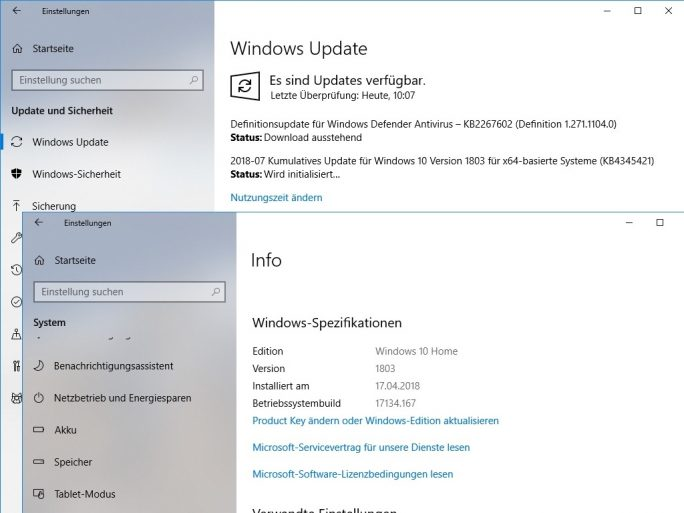Kumulatives Update KB4345421 erhöht Buildnummer auf 17134.167 (Screenshot: ZDNet.de)