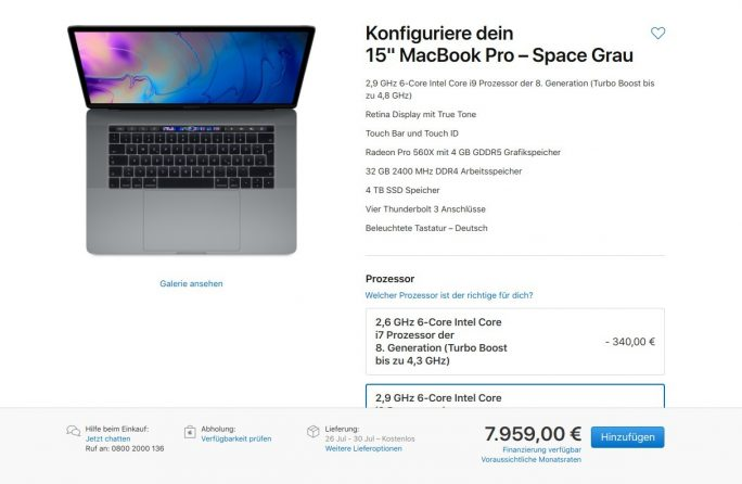 "MacBook Pro 15"" kostet in der vollen Ausbaustufe 7959 Euro (Screenshot: ZDNet.de)"