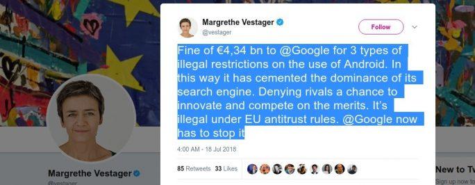 Margrethe Vestager zur Google-Strafe 2018 (Screenshot: ZDNet.de)