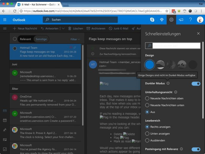 Outlook: Dunkler Modus (Bild: ZDNet.de)