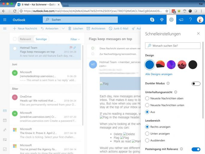 Outlook: Standard-Modus (Bild: ZDNet.de)