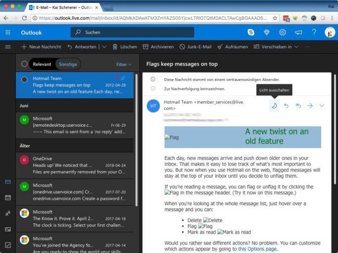Outlook: Dunkler Modus: Licht einschalten (Bild: ZDNet.de)