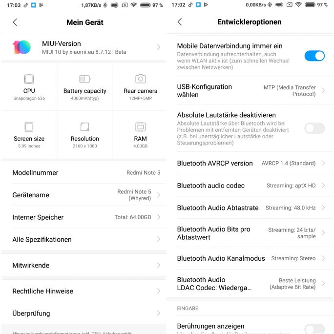 Redmi Note 5 (Whyred): Nach dem Patch ist aptX HD aktiv (Screenshot: ZDNet.de)