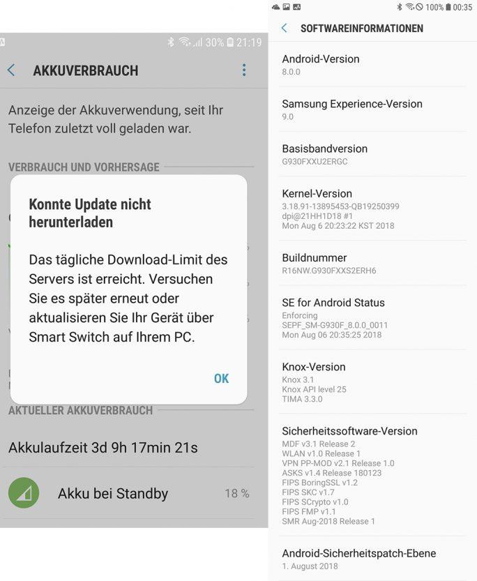 Galaxy S7: August-Update (Bild: ZDNet.de)