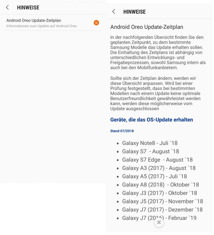 Samsung Galaxy: Oreo-Update-Fahrplan (Screenshot: ZDNet.de)