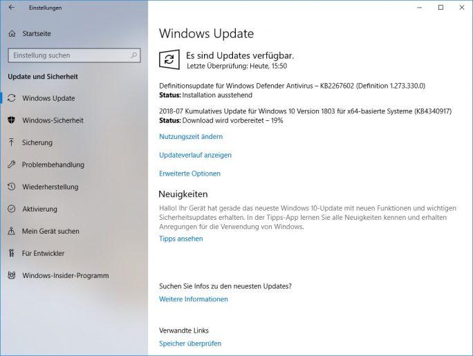 Windows 1803 KB4340917 schließt zahlreiche Fehler (Screenshot: ZDNet.de)