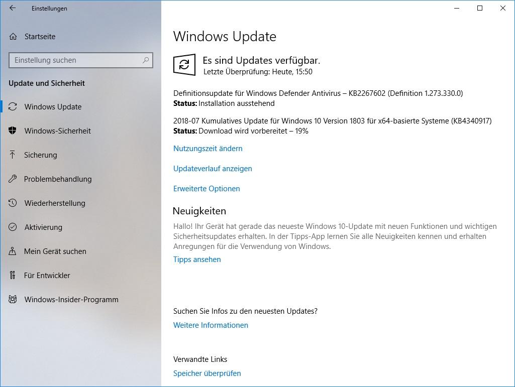 Windows 10 1803: Kumulatives Update KB4340917 behebt