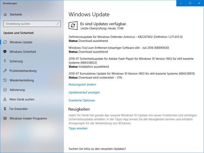 Windows-Update: Juli 2018 KB4338819 (Bild: ZDNet.de)