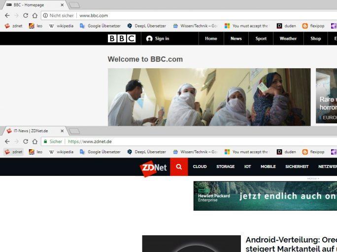 Warnung vor HTTP-Websites (Screenshot: ZDNet.de)
