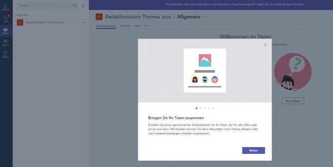 Teams lassen sich in Microsoft Team schnell und einfach in der Weboberfläche erstellen (Screenshot: Thomas Joos).