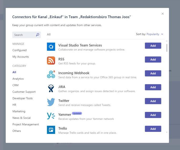 Chat-Kanäle in Microsoft Teams verfügen über externe Connectoren an die sich Nachrichten senden lassen (Screenshot: Thomas Joos).