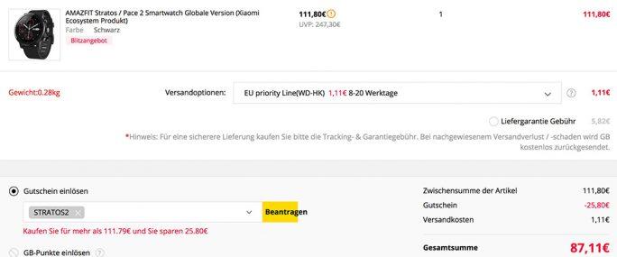 Amazfit Stratos 2 für 87 Euro (Screenshot: ZDNet.de)