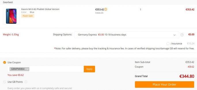 Xiaomi Mi 8 mit 64 GByte für 345 Euro (Screenshot: ZDNet.de)