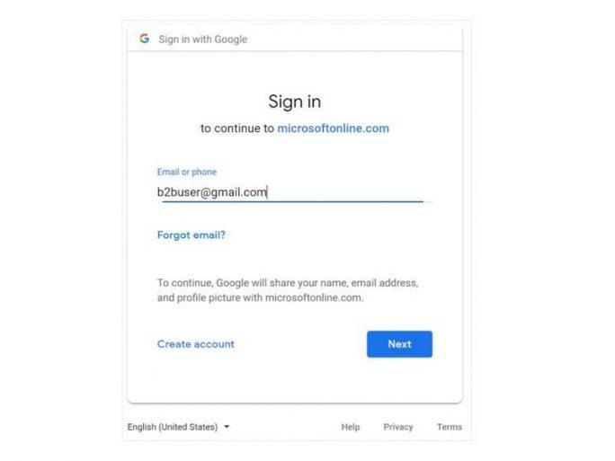 Azure: Anmeldung mit Google-Konto (Screenshot: Microsoft)
