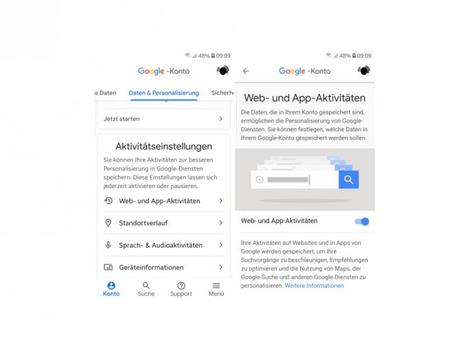 Web- und App-Aktivitäten (Screenshot: ZDNet.de)
