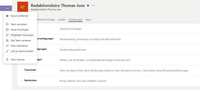 Verwalten von Teams in Office 365 (Screenshot: Thomas Joos).