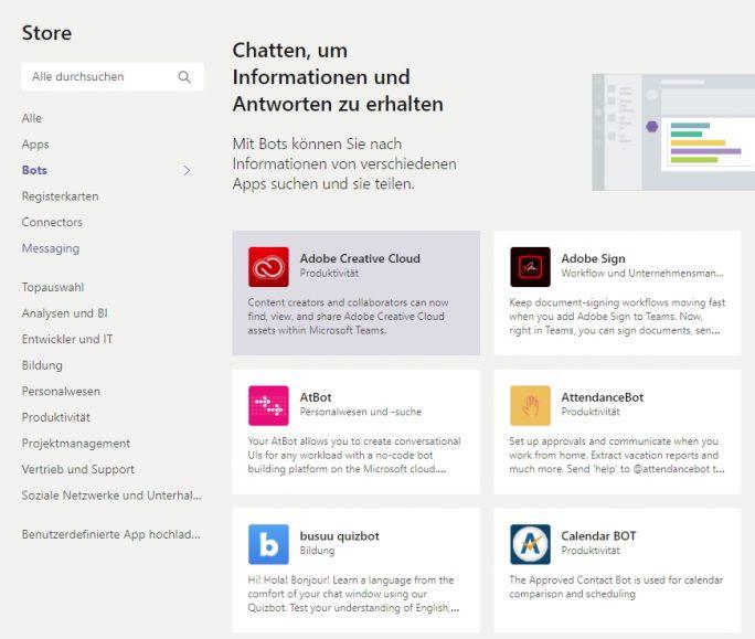 Mit Bots lässt sich die Funktion von Chats in Microsoft Teams erweitern (Screenshot: Thomas Joos).
