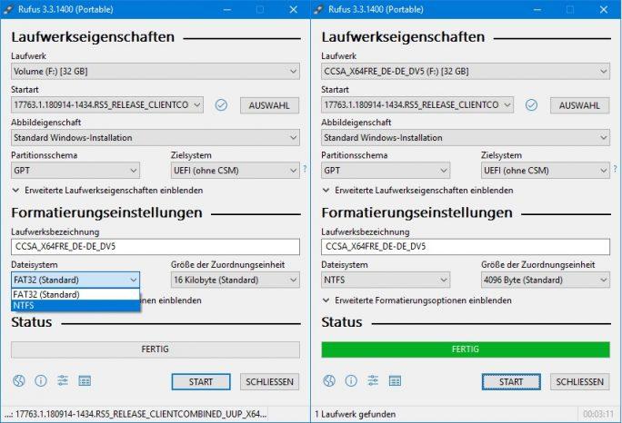 Rufus: bootbaren USB-Stick erstellen (Screenshot: ZDNet.de)