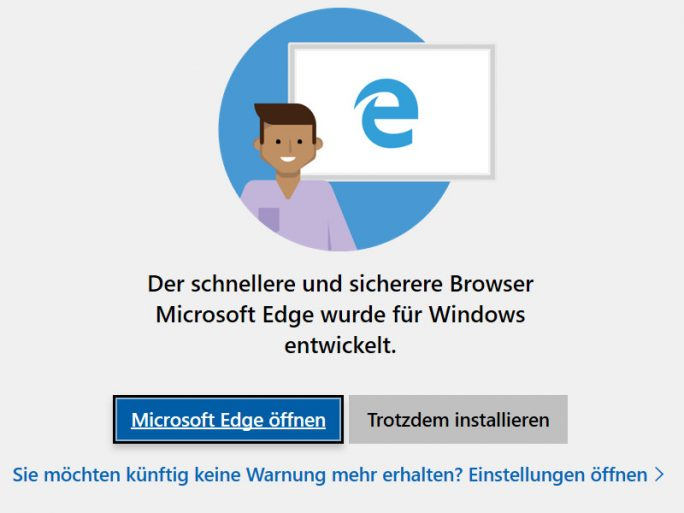 Edge-Warnung-Chrome-Firefox-Opera (Screenshot: ZDNet.de)