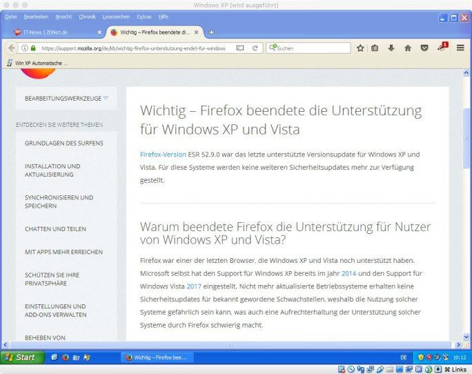 Firefox 52.9.0: Mozilla stellt Support für XP ein (Bild: ZDNet.de)