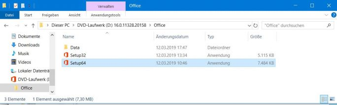 O365HomePremRetail-64-bit (Screenshot: ZDNet.de)