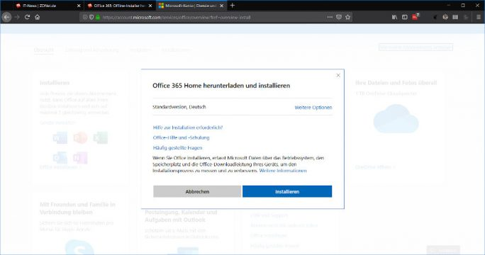 Office 365: Offline-Installer herunterladen (Screenshot: ZDNet.de)