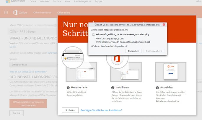Office 365: Offline-Installer für macOS (Screenshot: ZDNet.de)