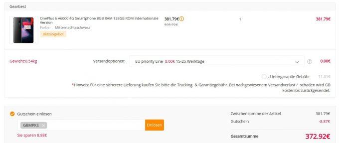 OnePlus 6 mit 128 GByte Speicher und 8 GByte RAM für 373 Euro (Screenshot: ZDNet.de)