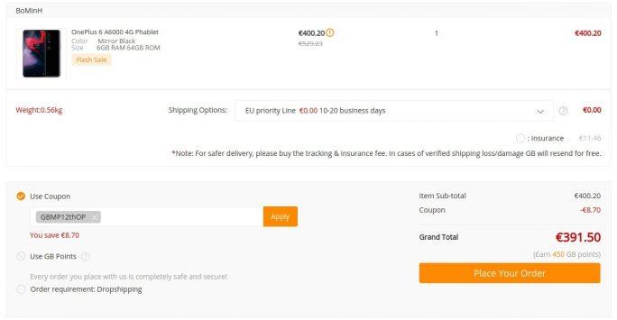 OnePlus 6 für 391 Euro (Screenshot: ZDNet.de)
