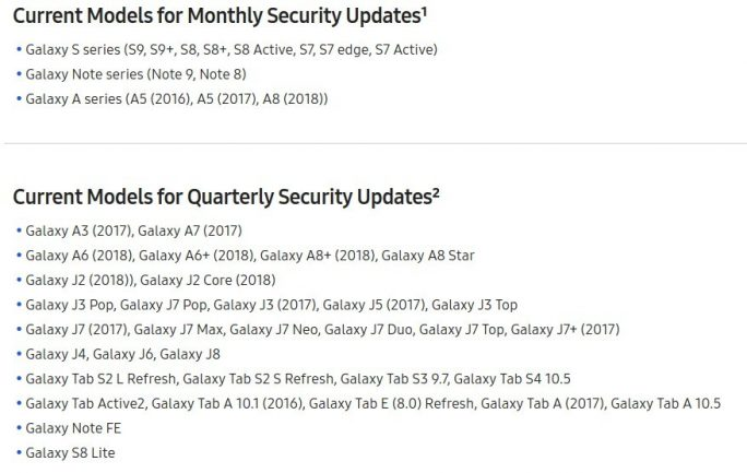 Samsung-Security-Updates 9/2018 (Screenshot: ZDNet.de)