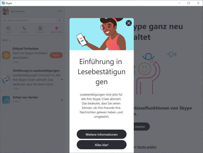 Skype-Lesebestätigung ab sofort verfügbar (Bild: ZDNet.de)