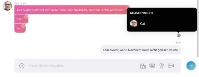 Skype Lesebestätigung: Avatar wird eingeblendet (Screenshot: ZDNet.de)