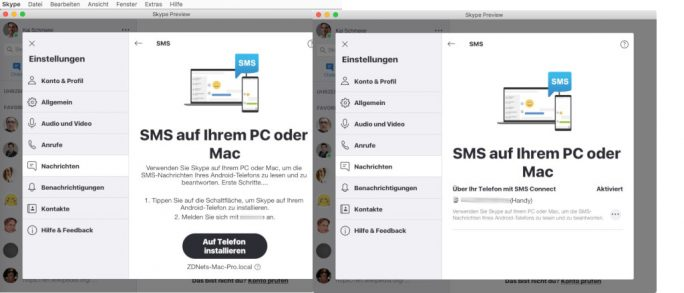 Skype: SMS-Connect unter macOS (Bild: ZDNet.de)