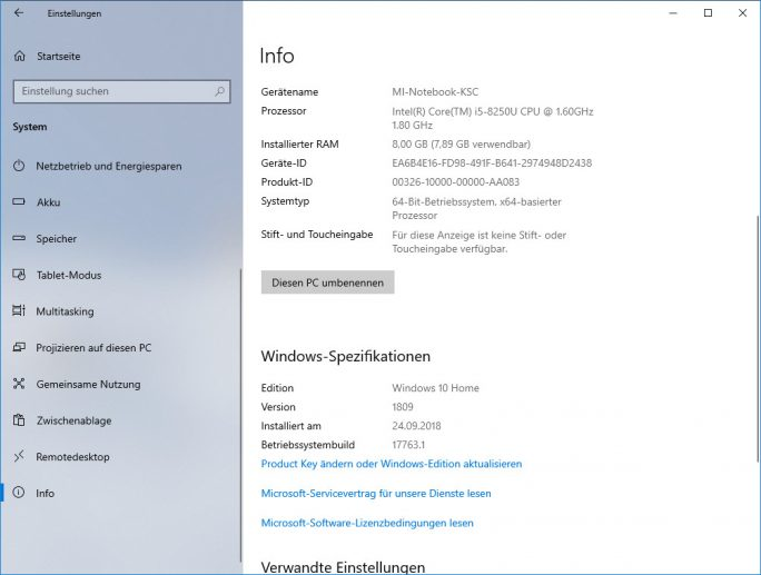 Windows 10 1809 Oktober-2018-Update Build 17763.1 Redstone 5 Release x64 (Screenshot: ZDNet.de)