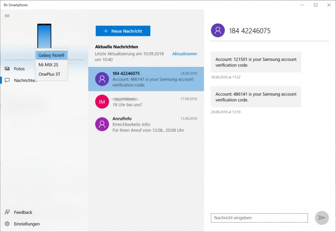 """Windows 10:  Die App """"Ihr Smartphone"""" ermöglicht Zugriff auf Fotos und SMS (Bild: ZDNet.de)"""