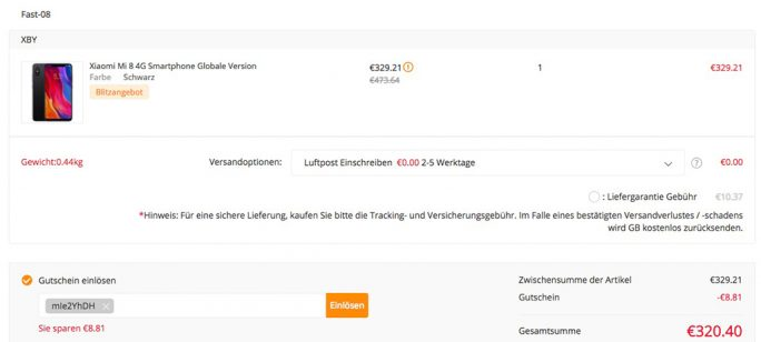 Xiaomi MI 8 64 GByte aus EU-Lager für 320,40 Euro