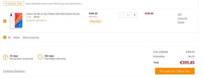 Xiaomi Mi MIX 2S mit 128 GByte aus EU-Warenlager für 395 Euro (Screenshot: ZDNet.de)