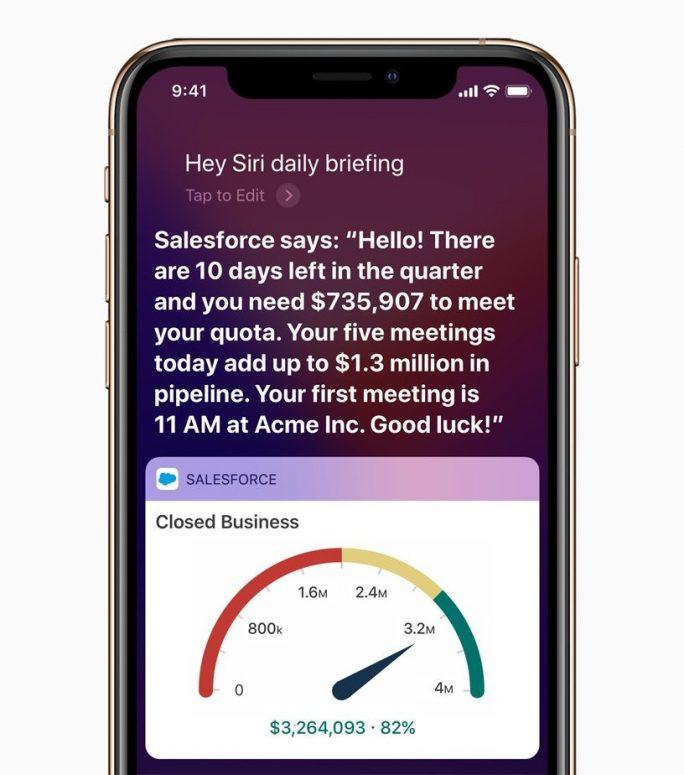 Neue Salesforce-App mit Siri-Kurzbefehlen (Bild: Apple)