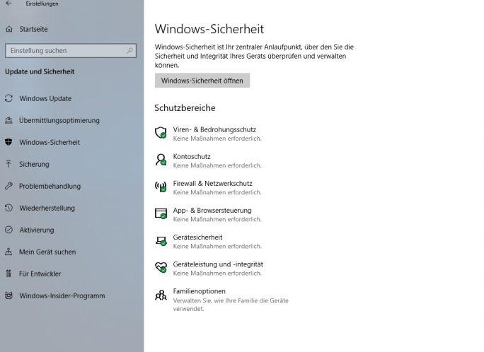 """Im Einstellungsmenü werden einige Menüpunkte umbenannt, darunter das Windows Defender Security Center zu """"Windows-Sicherheit"""" (Screenshot: Thomas Joos)."""