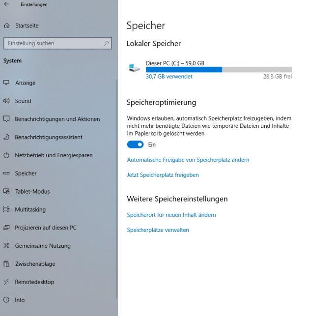 Storage Sense wird in Windows 10 Version 1809 aufgebohrt (Screenshot: Thomas Joos).