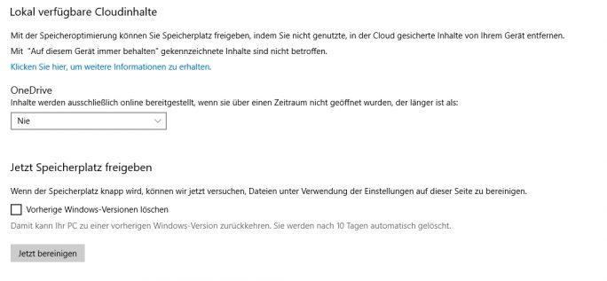 Windows 10 Storage Sense kann Daten löschen, und Daten in OneDrive verschieben, um Speicherplatz freizugeben (Screenshot: Thomas Joos).