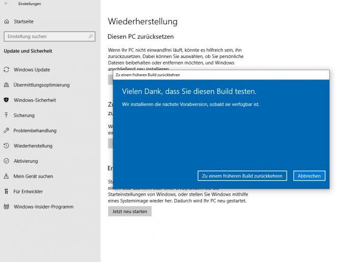 Windows 10 Version 1809 kann über die Einstellungen in Windows wieder deinstalliert werden (Screenshot: Thomas Joos).
