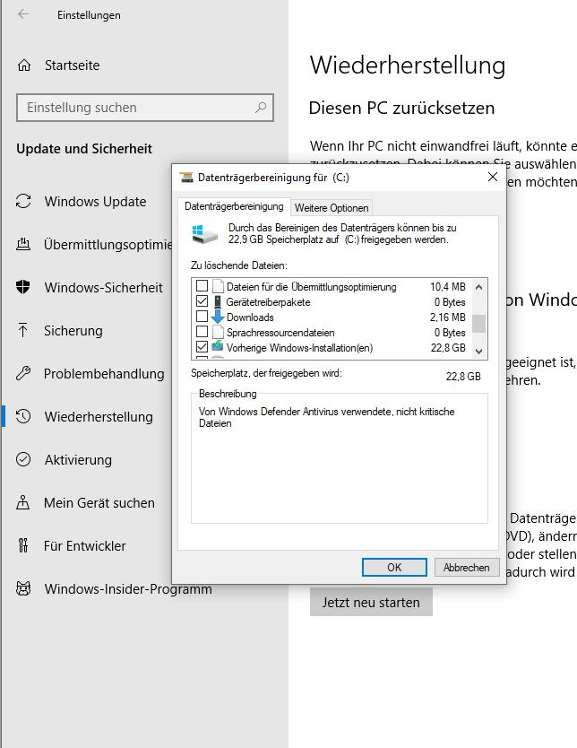 Die Datenträgerbereinigung kann unnötige Windows 10-Dateien entfernen (Screenshot: Thomas Joos).