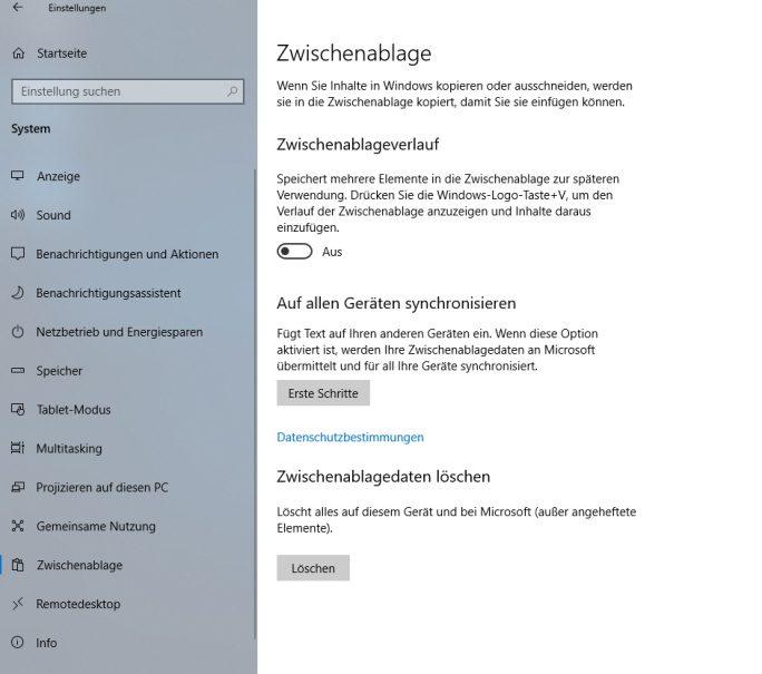 Die neuen Funktionen der Zwischenablage müssen zunächst konfiguriert werden (Screenshot: Thomas Joos).